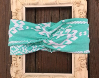 Aqua green Turban Headband in Aztec print. Baby turban, women's turban headband, toddlers/kids turban headband, Aztec print