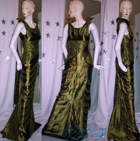 robe longue asym trique pi ce de collection haute couture. Black Bedroom Furniture Sets. Home Design Ideas
