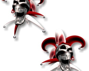 Vinyl sticker/decal Jester laughing skull red