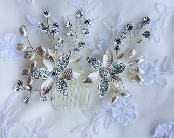 Barrettes wedding hair comb with pearls and rhinestones