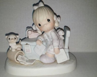 "Vintage Precious Moments Figurine ""Praise the Lord Anyhow"" 1982 Collectibles Figurines Knick Knacks Enesco Porcelain"