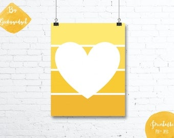 White heart and yellow paint chip - Nursery poster - Pdf printable, DIY, wall art, inspirational decoration, motivational