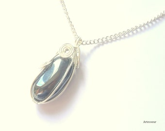 Necklace pendant wire wrapping lithotherapy silver plated chain grey Hematite stone