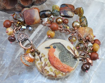 Little Chickadee mixed media bracelet SummerWindArt - DayLilyStudio
