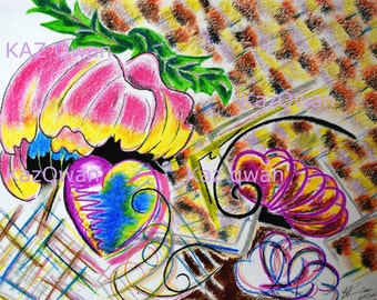 Heart Print, and Peony, Abstract Painting, Ready to Hang, Print Canvas, 8 x 10 inches
