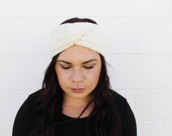 Cream - Crochet/Knit Turban Headband Ear Warmer
