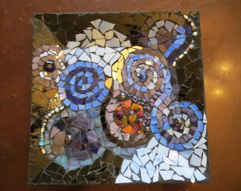 Whimsical stained glass mosaic swirling decorative plate /  Mosaic stained glass centerpiece /  Mosaic focal point / Mosaic jewelry tray.