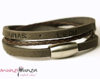 Name bracelet leather magnetic closure article 177a