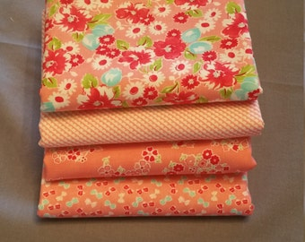Little Ruby Half Yard Bundle of 4 in Coral by Bonnie and Camille