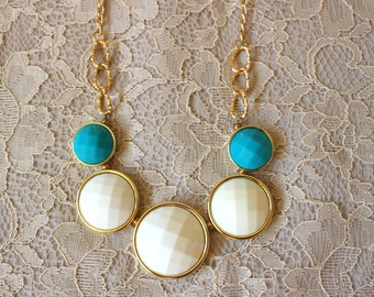 Blue and White Bubble Necklace