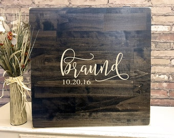 Rustic Wedding Guest Book Alternative | Rustic Wedding Decor | Wood Guest Book | Family Name Design | Personalized Guest Book