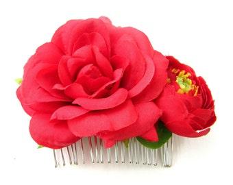 Red Rose Flower Hair Comb Vintage Bridesmaid Ranunculus Slide Rockabilly 50s B43