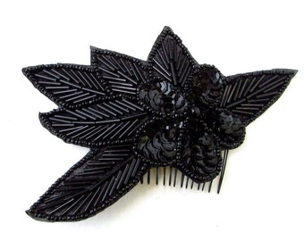 Black Hair Comb 1920s Sequin Great Gatsby Flapper Vintage Headpiece Clip 30s 667