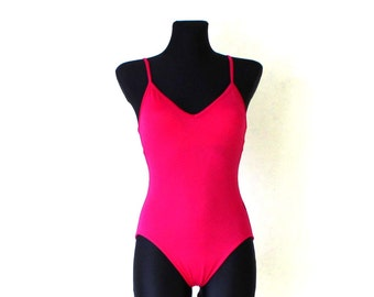 SEAFOLLY Vintage Bright Fuchsia Pink Lined Simple Minimal One Piece Swimsuit Small Size