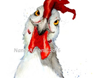 HAPPY HEN... Print of my Original Watercolour Painting A4 size #9