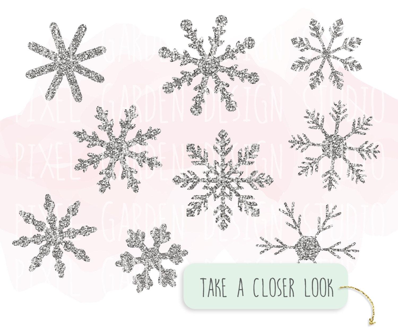 Silver Glitter Snowflake Clip Art Christmas By PixelGardenDesign