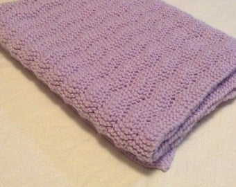 Hand knit soft lilac baby blanket/machine washable hand knitted purple baby blanket/car seat baby blanket/stroller baby blanket/crib blanket