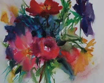 "Postcard. Reproduction flowers watercolor ""between seasons"" greeting card"