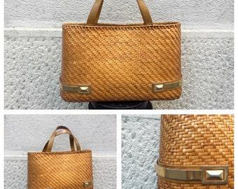 Big bag years 60 Rodo-studded Bag Purse woven Wicker Vintage Rodo-Rodo