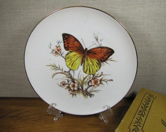 J.K.W. - Butterfly Plate - Made in Bavaria - Western Germany - Gold Accent