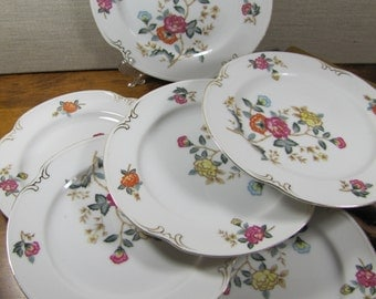 Charm Crest Fine China - Mayfair Pattern - Dessert Plates - Red and Orange Flowers - Gold Accent - Set of Six (6)