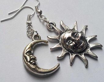 Mismatched Earrings , Asymmetrical Earrings , Silver Earrings , Sun And Moon Earrings , Sun Earrings , Moon Earrings , Celestial Jewelry