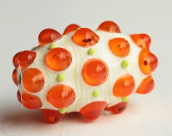 Handmade Lampwork Focal Bead Ivory and Orange Transparent Glass Olive
