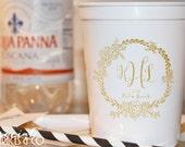 Plastic Wedding Favor Cups • Custom Printed Stadium Cups • Script Monogrammed Plastic Cups • Personalized Event Cups •  Monogram Party Cups