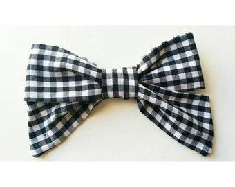 Classic Black & White Gingham Hair Bow