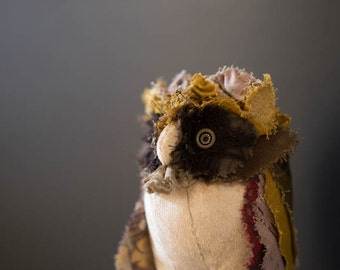 Owl...Bubo Buh / kimono,owl stuffed,owl plush,owl art doll,soft art creature,OOAK owl
