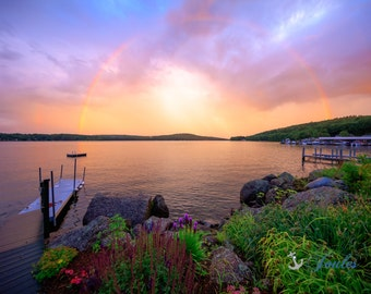 After the Storm ~  Meredith, New Hampshire, Church Landing, Lake Photography, Sunset, Rainbow, Wall Decor, Joules, Artwork