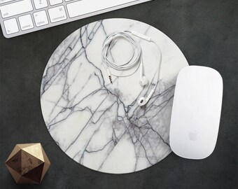 Marble MousePad Tile Mouse Pad White Marble Mouse Mat Style MousePad Office Gift Round or Rectangular Rubber Mousepad Gift for Best Friend