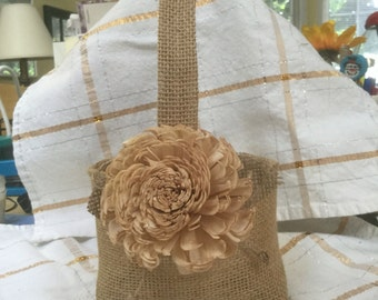 Burlap Flower girl Basket with a Chanpaign Chorki Sola flower