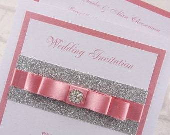 100 Personalised Elegant Ivory DL Pocket Wedding Invitations with Buckle and Ribbon