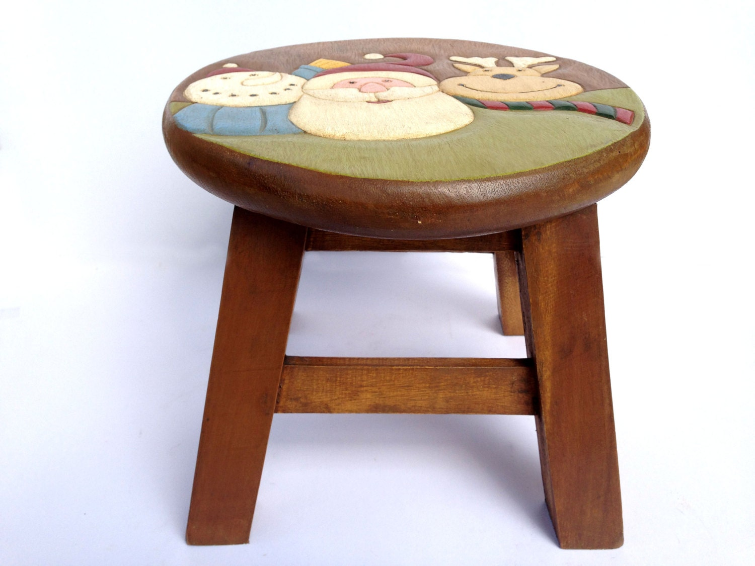 Santa Stool Kids Stool Sitting Stool Hand Painted Wooden Stool
