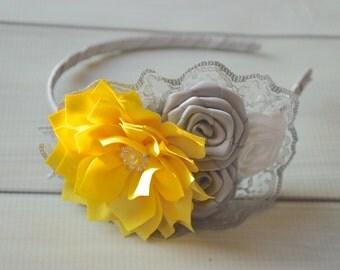 grey yellow and white lace headband