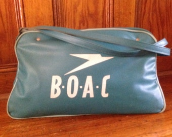 Vintage BOAC British Airlines Travel Carry On Bag, Mid Century British Airways Travel Bag, turquoise Vintage BOAC Travel Bag, Vintage Bag