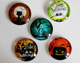 5 Halloween Mixed Round Glass Cabochons 20mm (052)