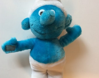 Vintage Smurf Plush Stuffed Doll By Wallace Berrie Peyo 1981