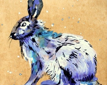 ORIGINAL Watercolor paintind ,Rabbit Painting by Tetiana
