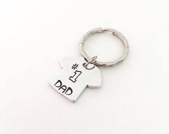 Number one dad keychain, Number 1 dad, Dad gift, Father gift, Father's Day gift, Hand Stamped keychain