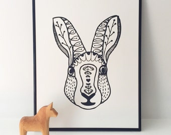 "Scandinavian Rabbit hand screen printed art print 11""x14"""