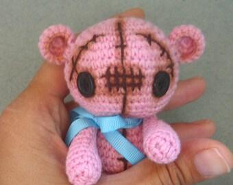 Pink Crochet Teddy Bear, amigurumi
