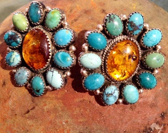 Navajo Genuine Turquoise Amber and Sterling Silver Earrings