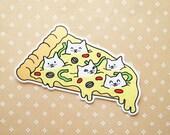 Pizza Cats Vinyl Sticker natelledrawsstuff