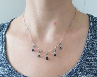 Vintage Sterling Silver and Swarovski blue crystal necklace