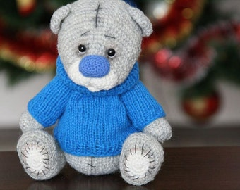 Hand Knitted Bear Teddy, Knitted Bear for Children, Grey Baby Bear