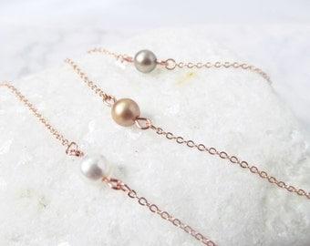 rose gold pearl bracelet, delicate rose gold bracelet , pearl and rose gold bracelet, rose gold bracelet, bridesmaids gift bracelet