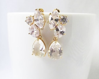 Crystal Bridal Earrings gold, Bridal Cluster Earrings, Bridesmaids Earrings, Crystal Bridal Earrings, Crystal Studs