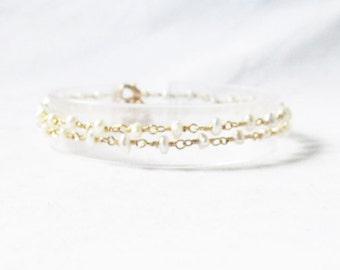 real pearl bracelet, delicate pearl bracelet, dainty pearl bracelet, multi strand pearl bracelet, pearl bridal bracelet